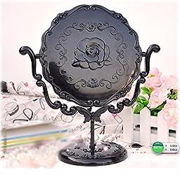 Vintage Mirror Cosmetic Makeup Antique Retro Vanity Decorative Glass Art Design Ornaments - Table Bathroom Oval Standing Personal Makeup Ornate Black Rose
