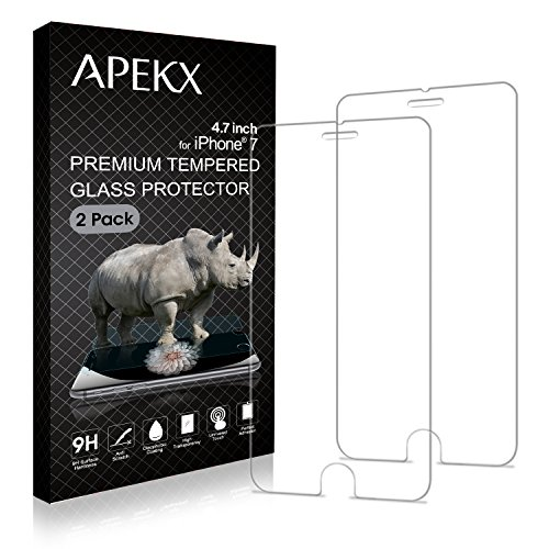 APEKX IPhone 7 Tempered Glass Screen Protector 4.7 Inch 9H (3D Touch Compatible) Max Touch Accuracy, Durability, HD Clarity, Bubble Free, Anti-Fingerprint, Case Friendly (2 Pack) (3d Bubble)