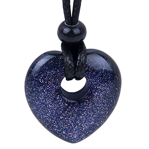 BestAmulets Amulet Lucky Heart Donut Shaped Charm Blue Goldstone Crystal Pendant Sparkling Magic Powers ()