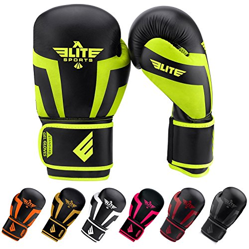 Elite Girls Glove (Elite Sports New Item Standard Kids Kickboxing, Muay Thai Gel Sparring Training Boxing Gloves (Green 6oz))