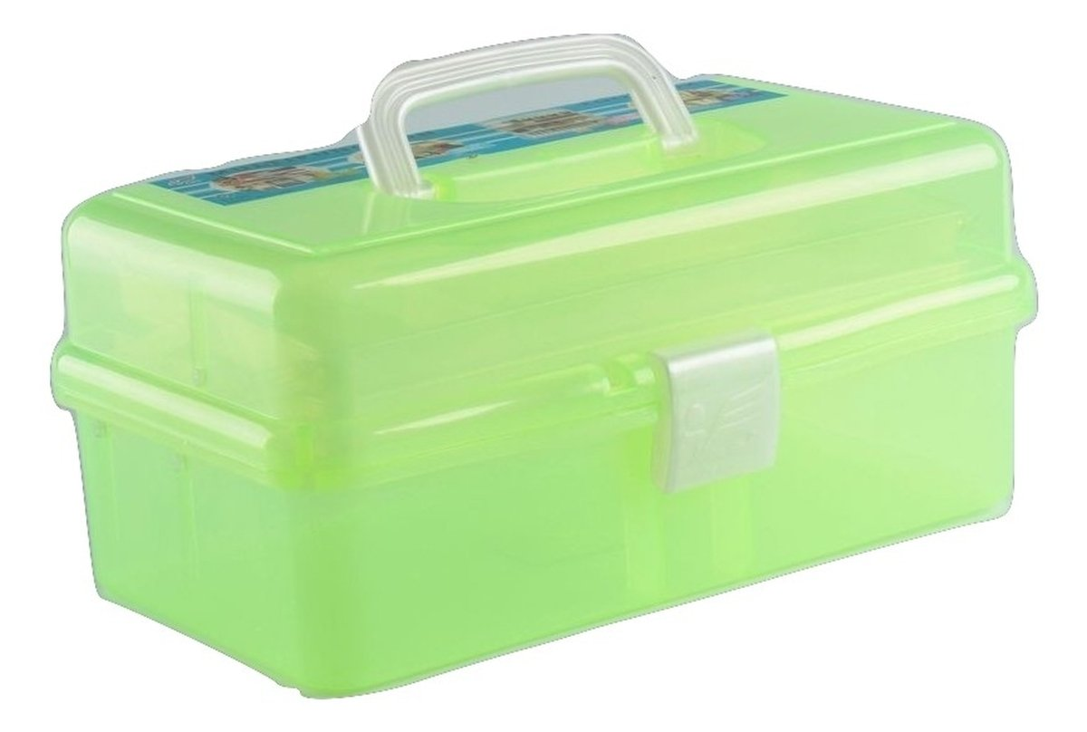 Plastic DIY Arts Crafts Tool Storage Box With Handle And Internal Top Tray  Low Cost