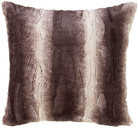 Fennco Styles Wilma Collection Country Faux Rabbit Fur Palette 28 x 28 Inch Throw Pillow with Case Insert Chocolate Euro Pillow for Couch, Bedroom and Living Room D cor