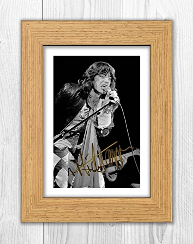 Engravia Digital Mick Jagger - The Rolling Stones 1 SP - Signed Autograph Reproduction Photo A4 Print(Oak frame)