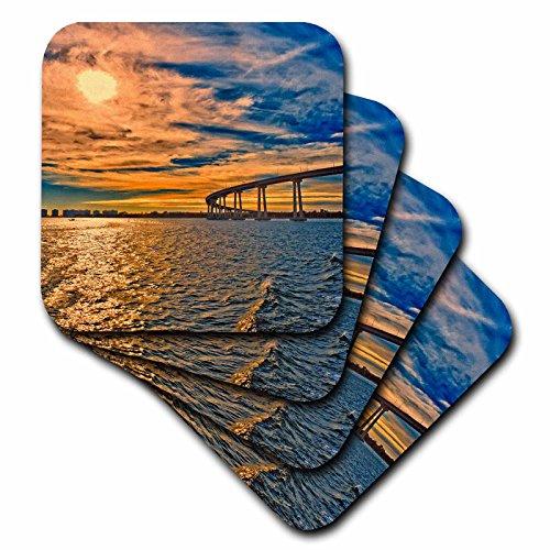 (3D Rose USA - Ca - San Diego-Coronado Bay Bridge Soft Coasters Multicolor)