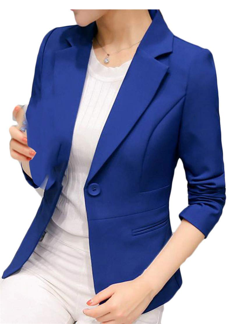 Wofupowga Women's One-Button Sexy Long Sleeve OL Lapel Neck Coat Blazer Jackets Jewelry Blue S