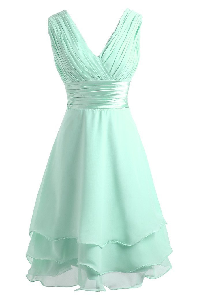 Promworld Women's V Neck Chiffon Knee Length Bridesmaid Dress Mint US12