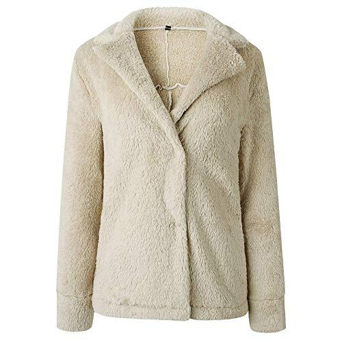 Beige Pile Caldo Giacca De Donna Casual Parka Tasche Mode Con Cappotto Aperto Capispalla Da In Cappuccio Invernale Solido Marca yvYf6gb7