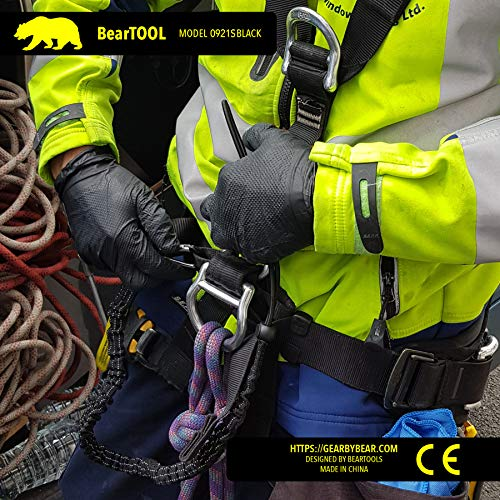 BearTOOL Tool Lanyard with Single Carabiner and Adjustable Loop End, Standard Length, Maximum Weight Limit 8KG / 17.6lb, Aluminum Screw Lock Carabiner with Shock Cord Stopper, 3 Pack (Black 0923S) by BearTOOL (Image #4)