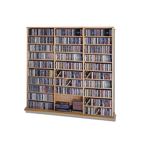 Leslie Dame CDV-1500 High Capacity Oak Veneer Multimedia Cabinet, (Dvd Multimedia Storage Shelf)