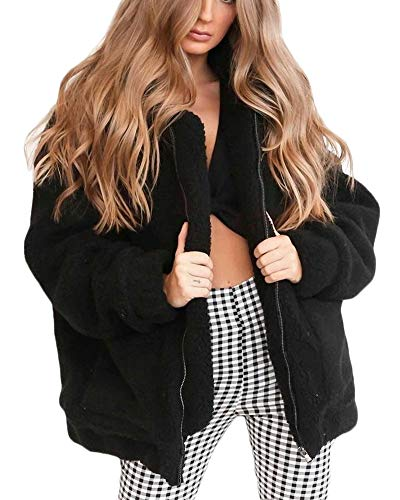 en Veste Noir Vestes Woman Warm Manteaux Fausse Quge Elegant Plush Manteaux Fourrure Street Zipper 4qUtFnW