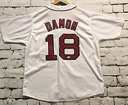 super popular bb981 58b50 Johnny Damon Signed Autographed Boston Red Sox Throwback ...