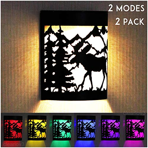 UPSTONE Outdoor Solar Wall Reindeer Deer Night Light, 2 Modes Fence Post Solar Lights Yard Step Deck Landscape Lighting for Outdoor Garden Pathway Stairs Fence,Warm White/Color Changing, 2 -