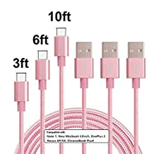 Type C Cable, MCUK 3 Pack 3ft 6ft 10ft Lightning Cable Charging Cord Nylon Braided Data Sync Cable for New Macbook 12 inch, OnePlus 2, LG G5, Nexus 6P/5X, ChromeBook Pixel (3ft+6ft+10ft)Pink