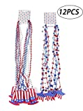 Moon Boat Patriotic Metallic Star Bead Necklaces Uncle Sam Hat- Fourth/4th of July Party Favors Supplies Decorations