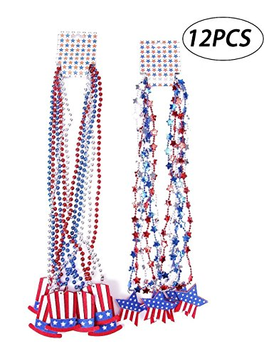 - Moon Boat Patriotic Metallic Star Bead Necklaces Uncle Sam Hat- Fourth/4th of July Party Favors Supplies Decorations