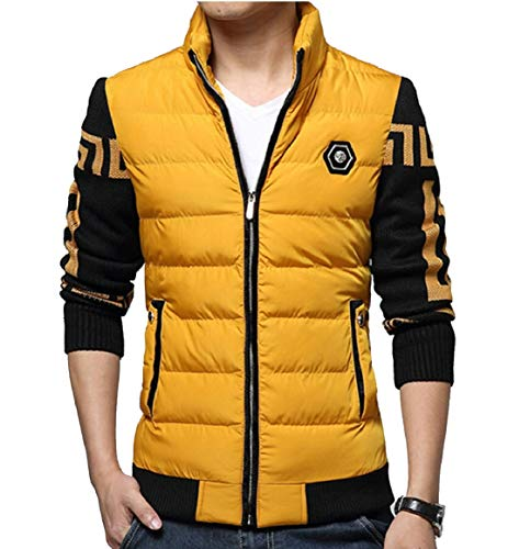 security Men's Cotton Warm Thick Winter Down Jackets Stand Collar Coats Yellow