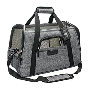 "Living Express Cat Carrier Airline Approved-Soft Sided Pet Carrier Foldable with Mat,Fits Under Airplane Seat for Small Dogs & Cats(17.5"" L x 10"" W x 11"" H) 114"