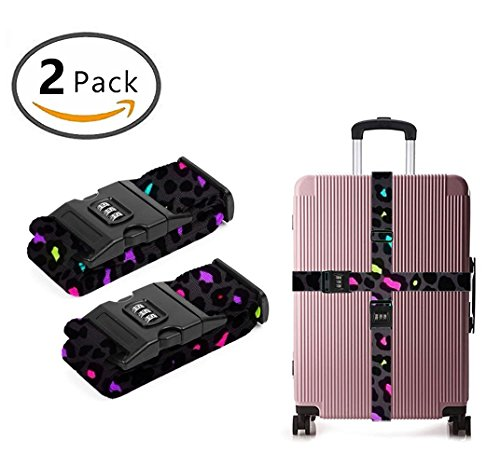 Delsey Black Camera Bag - YEAHSPACE Cheetah Leopard colorful 2 Pack Luggage Straps Suitcase Adjustable Belt Travel Bag Accessories
