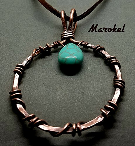 - Wrapped Hammered Circle Necklace Copper Wire Turquoise Teardrop Wire Wrapped