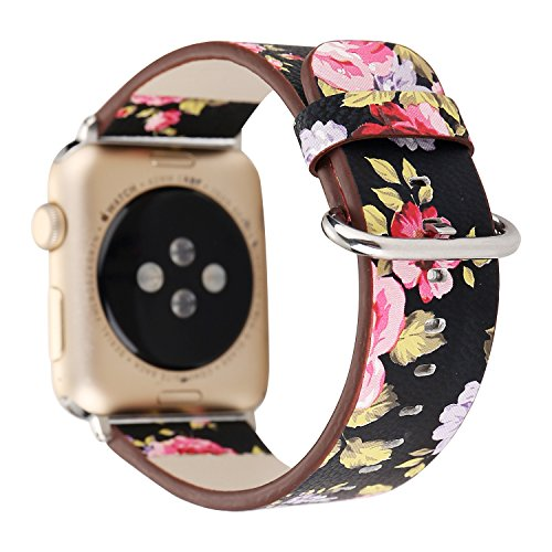 Amedve for Apple Watch Band 38mm Floral Print PU Leather Replacement Strap Wrist Watch Band for Apple Series 1 Series 2 Series 3, Sport & Edition (Black with Pink Flower) (1 Flower)