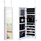 Giantex White Mirror Jewelry Cabinet Armoire with Lock and Lights Wall Door Mounted Storage Organizer