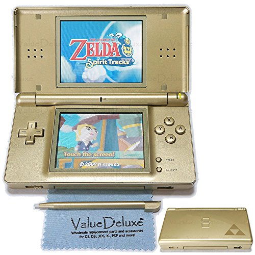 (ValueDeluxe Custom Zelda Gold Nintendo DS Lite System Hand held Gaming Console + Bonus World AC Adapter and Car Adapter)