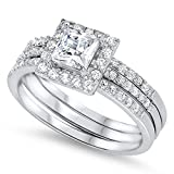 Prime Jewelry Collection Sterling Silver Women's Colorless Cubic Zirconia Princess Cut Halo Square Wedding Set Ring (Sizes 5-10) (Ring Size 7)