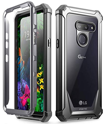 LG G8 ThinQ Rugged Clear Case, Poetic Full-Body Hybrid Shockproof Bumper Cover, Built-in-Screen Protector, Guardian Series, for LG G8 ThinQ Verizon/AT&T/Sprint/T-Mobile(2019), Black/Clear