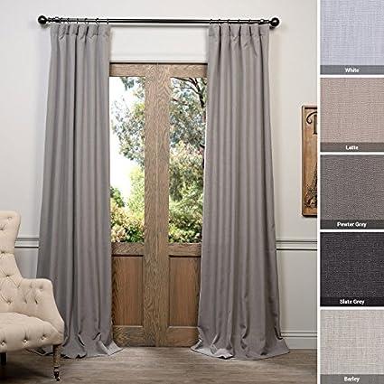 grey linen curtains bedroom half price drapes fhlchvet1319496 pewter heavy faux linen curtain 50 amazoncom