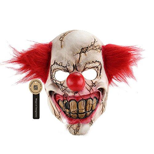 Killer Clown Prank Costume (Scary Clown Mask Creepy Face Clowns Evil Halloween Killer Clown Mask Made of Natural Latex by Magical Imaginary)