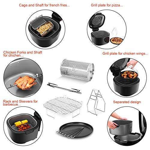 VPCOK Air Fryer, XXXL/10.6QT 7-in-1 Oil-Free Airfryer w/ LED Touchscreen Rapid Air Circulation System for Healthy Fried Food, Professional Dehydrator Rotisserie for Family of 5-8 by VPCOK (Image #1)
