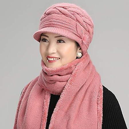Bonnet Bonnet De Ski Dame d'âge mûr et vieille, automne et hiver, vieille dame, laine, vieil homme, chapeau, écharpe, grand-mère d'âge moyen, bonnet d'hiver (couleur: violet) Pour les femmes hommes écharpe vfgbdtjn