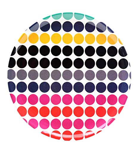 """French Bull 14"""" Round Serving Platter Melamine""""Flutter"""" Pattern Dots"""