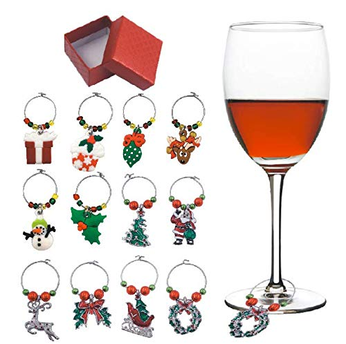 Holiday Christmas Wine Glass Charms Tags, Wine Drinker Gift set of 12 in gift box, Champagne Cocktail Drink Markers ()