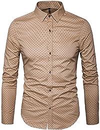 Men's Printed Dress Shirt-100% Cotton Casual Long Sleeve Shirt-Regular Fit Button Down Point Collar Shirt