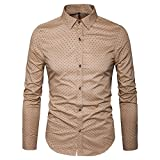 MUSE FATH Men's Printed Dress Shirt-100% Cotton Casual Long Sleeve Shirt-Button Down Point Collar Shirt-Khaki New-XL