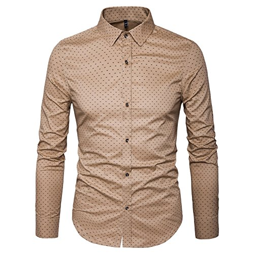 MUSE FATH Men's Printed Dress Shirt-Cotton Casual Long Sleeve Shirt-Button Down Point Collar Shirt-Khaki New-XL