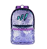 HeySun Girls Reversible Sequins Bookbag Backpack for School Lightweight Trendy Back Pack