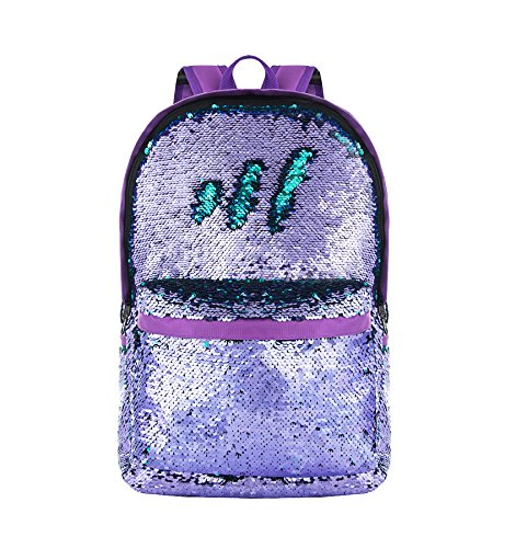 HeySun Girls Reversible Sequins Bookbag Backpack for School Lightweight Trendy Back Pack for Boys (Purple/Teal)]()