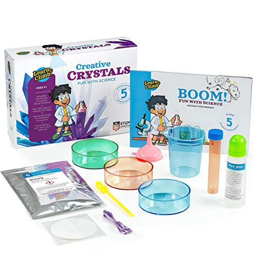 Learn & Climb Science Crystal Growing Kit for Kids Ages 5 to 7 - Kids Do it Themselves with Step-by-Step Experiment - 6 Kit Crystals