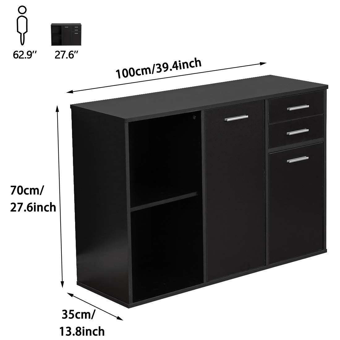 Bizzoelife Wood File Cabinet Large Modern Lateral Office Filing Cabinet with 2-Drawers and 3 Drawer Doors Black Printer Stand with Open Storage Shelves for Home Office