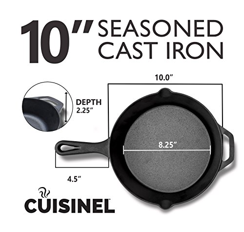 Pre-Seasoned Cast Iron Skillet (10-Inch) w/ Handle Cover | Oven Safe Cookware | Heat-Resistant Holder | Indoor and Outdoor Use | Grill, Stovetop, Induction Safe