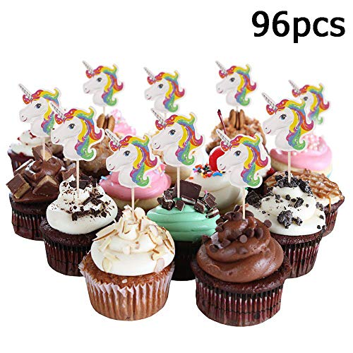 [Christmas Cupcake Decor] Hekoy 96pcs Unicorn Cupcake Toppers Cake Toppers Double Sided Party Cupcake Decorations Supplies For Kids Girls Birthday Baby Shower and Wedding -