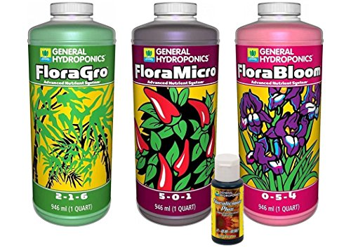 FloraGro, FloraBloom, FloraMicro Set + 1oz Floralicious Plus (Quarts)