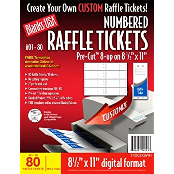 Amazon.com : Blanks/USA Pre-Cut Numbered Raffle Tickets (TKS02X9WH ...