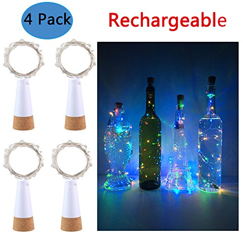 Rechargeable Wine Bottle Lights ,Anipopy 4 Pack Cork Shaped USB Powered String Fairy Lights for Bottle DIY,Christmas Halloween Gift Wedding Party Indoor Decoration (Colorful)