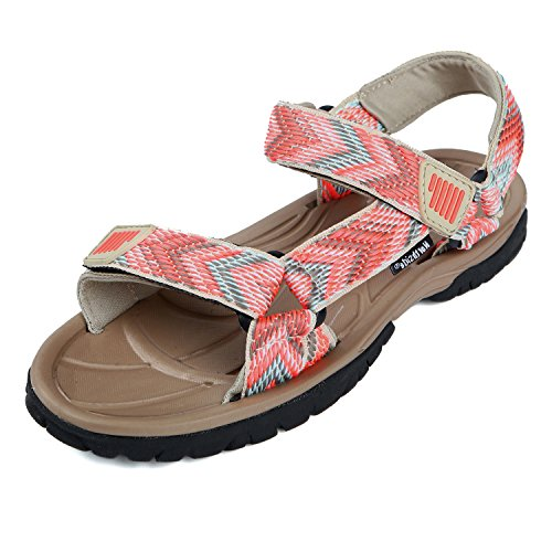 Northside Women's Seaview Sandal, Tan/Coral, 8 B(M) US