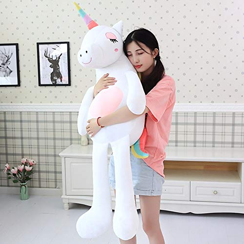 GOONEE Unicorn Stuffed Animal - Large Soft Unicorn Stuffed Animals Cartoon Unicorn Plush Toy Gift for Children - 32 Inch White - Chubby Blue Big Colorful Carters Despicable Dispicable Extra]()