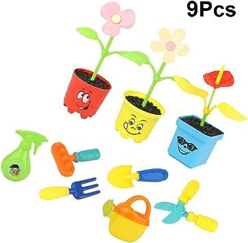 NUOBESTY Herramientas de Jardinería para Niños Juguetes Divertidos Juguetes de Flores de Riego Juguete Creativo para Niños 9 Piezas: Amazon.es: Juguetes y juegos