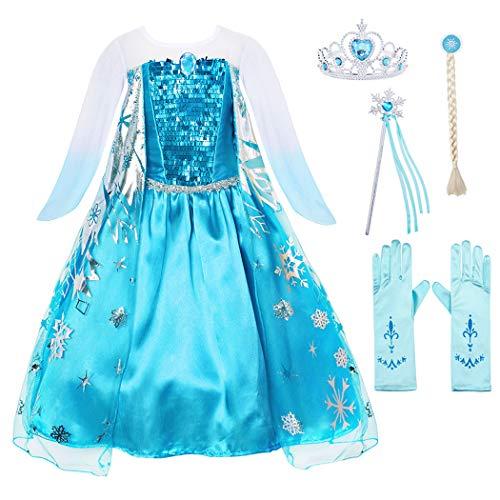 Cotrio Girls' Elsa Dress Up Costume Halloween Cosplay Them Party Princess Dresses Outfits with Accessories 2-12Years (4T, 3-4Years, Wig, Gloves, Tiara/Crown, Wand/Scepter)]()